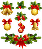 Christmas ornaments. Vector illustrations - christmas ornaments icons Stock Photo
