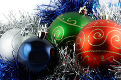Christmas ornaments. Baubles and tinsel Royalty Free Stock Image