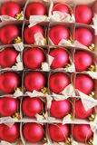 Christmas Ornaments. A box of Christmas ornaments stock photo