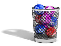 Christmas ornaments. Christmas balls in trash Royalty Free Stock Photos