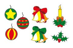 Christmas ornaments. Diferent types os christmas illustrations Stock Photo