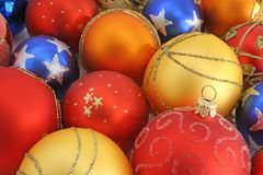 Christmas ornaments. Close view of colorful christmas ornaments stock image