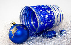 Christmas ornaments. New Year's ornaments of dark blue colour Stock Photography