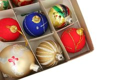 Christmas ornaments. Top view of christmas ornaments in a box Stock Image