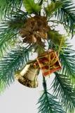 Christmas ornaments. Branch, box, handbell, ball stock photos