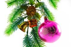 Christmas ornaments. Branch, box, handbell, ball stock photo