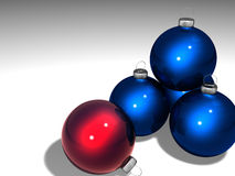 Christmas Ornaments. Blue and red Christmas Ornaments on a white background Royalty Free Stock Image
