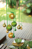 Christmas ornaments. A display of Christmas ornaments hanging stock photos