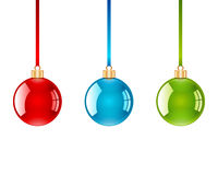 Christmas Ornaments. Vector illustration of three Christmas ornaments.  Isolated against a white background Stock Photo
