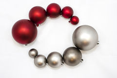 Christmas ornaments. Arranged in a circle by color and size Stock Photography