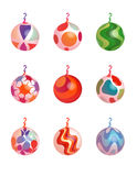 Christmas Ornaments 2. Multi-colored Christmas balls with swirling, round, clover leaf, starburst, triangle and zig-zag design (vector Stock Photos