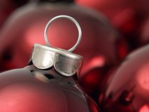 Christmas Ornaments 2. Close-up of red Christmas tree bulb ornaments Stock Photography
