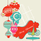 Christmas ornaments. Christmas background, scrap booking elements royalty free illustration