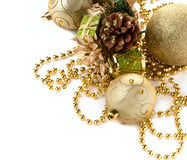Christmas ornaments. Gold spheres on a white background Stock Image