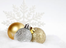 Christmas ornaments. And snowflake  on white Royalty Free Stock Images