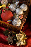 Christmas ornaments. A composition with a box full of Christmas ornaments on a red velvet Royalty Free Stock Images