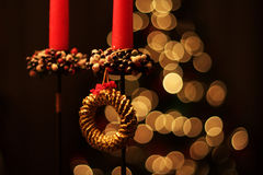 Christmas Ornaments. In front of the christmas tree, decorations and bokeh Stock Images