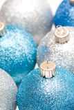 Christmas ornaments. A shot of blue and silver christmas tree ornaments Stock Image