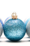 Christmas ornaments. A shot of blue and silver christmas ornaments Royalty Free Stock Images