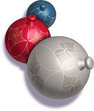 Christmas Ornaments. Christmas balls, 3D Illustration Stock Photos