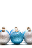 Christmas ornaments. An isolated shot of blue and silver christmas ornaments Stock Images