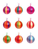 Christmas Ornaments. A Set of 9 Multi-Colored Christmas Balls Royalty Free Stock Image