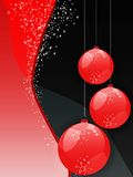 Christmas ornaments. Illustration of three hanging red christmas balls with white stars on red and black with white stars background Royalty Free Stock Images