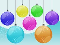Christmas ornaments. Illustration hanging christmas balls with white stars on blue and stars background Stock Images