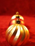 Christmas Ornaments. Three ornaments in a row Royalty Free Stock Photo