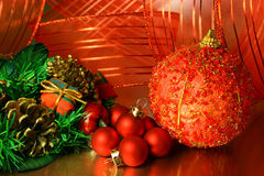 Christmas ornaments. Assorted christmas balls and ornaments Royalty Free Stock Photo