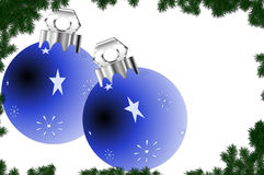 Christmas Ornaments. Illustration of two blue Christmas tree ornaments on a white background bordered by green spruce branches Royalty Free Stock Photos