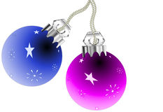 Christmas Ornaments. Blue and pink Christmas ornament illustration, isolated on a white background Stock Photo