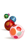 Christmas Ornaments 3D. Colorful 3D Christmas Balls with Light Gray Cast Shadows Stock Images