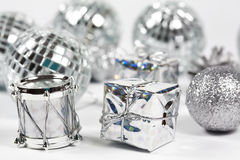 Christmas ornaments. In silver tone Royalty Free Stock Images