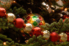Christmas Ornaments. On Outdoor Decorated Tree Royalty Free Stock Images