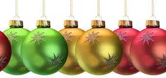 Christmas ornaments. Continuous border of shiny Christmas ornaments stock images