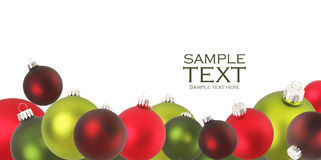 Christmas ornaments. Christmas ornaments in red and green Royalty Free Stock Photo