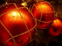 Christmas ornaments. Golden ornaments for the christmas tree Stock Photo