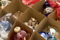 Christmas Ornaments. In Box with Dividers Royalty Free Stock Photography