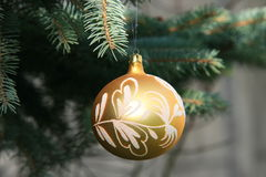 Christmas ornaments. On a Christmas tree, glass sphere, brocade, spruce, and the branch, a public holiday, hover, tradition Stock Image