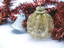 Christmas ornaments. Photograph in the foreground Royalty Free Stock Photos