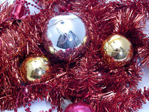 Christmas ornaments. Photograph in the foreground Royalty Free Stock Photography