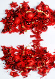 Christmas ornaments. Red christmas ornaments and its reflection on white Stock Photo