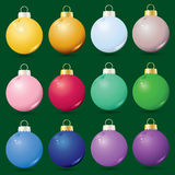 Christmas ornaments. Set of 12 glass Christmas ornaments Royalty Free Stock Photos
