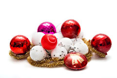Christmas Ornaments. On white background royalty free stock photos