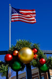 Christmas Ornaments and American Flag Royalty Free Stock Photo