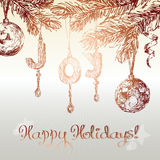 Christmas ornaments background stock illustration