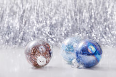 Christmas ornaments balls on glitter bokeh background with space for text. Xmas and Happy New Year Royalty Free Stock Photos