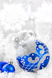 Christmas ornaments. With balls and snow Royalty Free Stock Photos