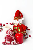 Christmas ornaments. Balls. Toys. Santa claus; Candles; Gifts; Royalty Free Stock Images